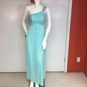 Rhinestone One Shoulder Turquoise Gown